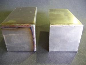 TIG_large Corner side by side before & after electropolishing